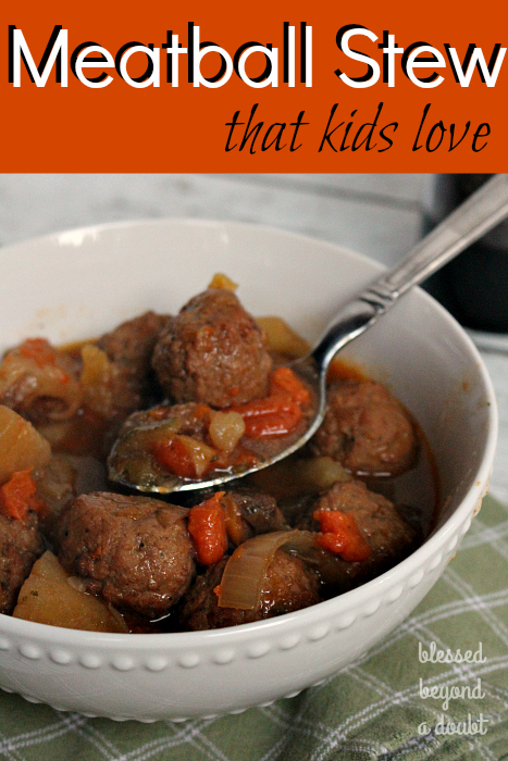 This slow cooker meatball stew recipe is so easy. It's very kid-friendly! It freezes well, too!
