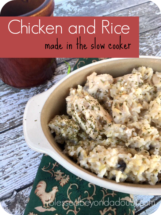 The embarrassing easy chicken and rice recipe made in the slow cooker. My family loves it.