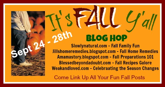A Fall Blog Hop!  Lots of Fall fun ideas, remedies, devotions, and Fall Recipes galore!