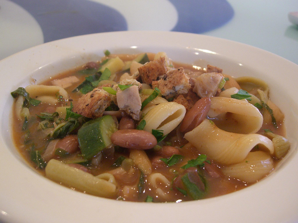 Pasta, Zucchini, Borlotti Bean and Leftover Roast Chicken Soup Recipes