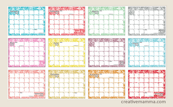 FREE Printable Calendars 2013 - Blessed Beyond A Doubt