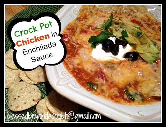 Easy crock pot chicken in enchilada sauce
