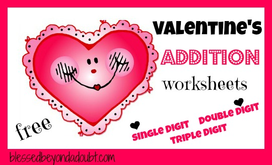 free valentines addition worksheets packet blessed