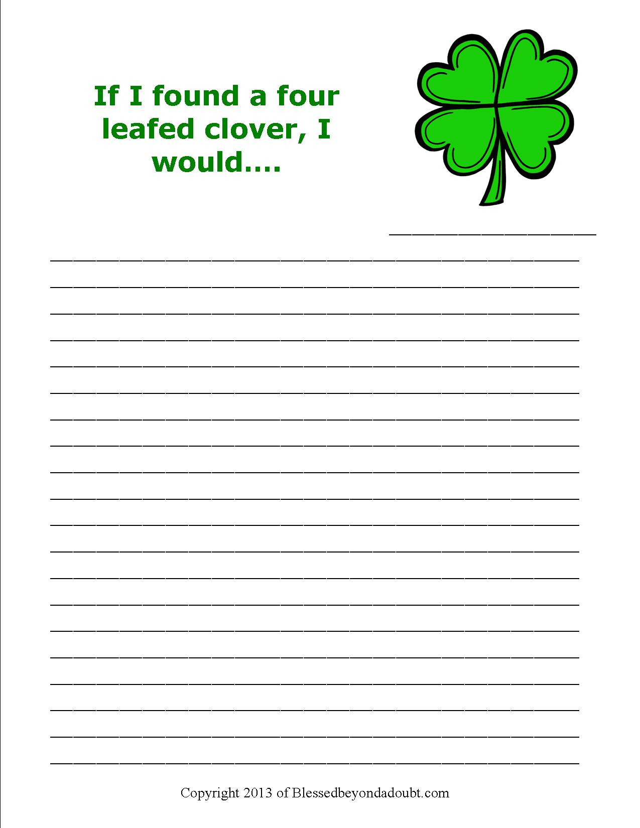 free st patrick u0027s day writing prompts super cute