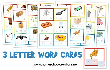 3 letter word cards large