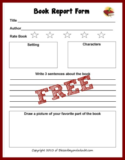 free book report form blessed beyond a doubt