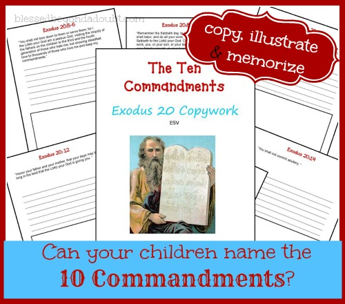 FREE Ten Commandments Copywork and ideas