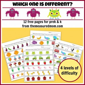 free which one is different printables prek and k