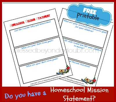 FREE Homeschool Mission Statement