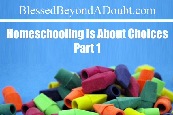 Homeschooling Is About Choices, Part I
