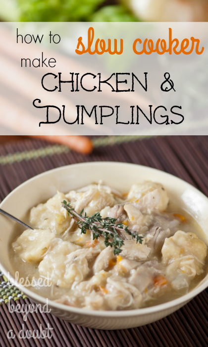 The easiest Chicken and Dumplings Recipe made in the slow cooker