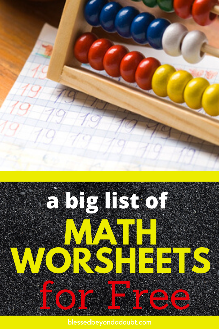 Here's a big list of free math worksheets. So many to choose from. #freemathworksheets #freemathworksheetsfirstgrade #schoolclosures #distancelearning #homeschool