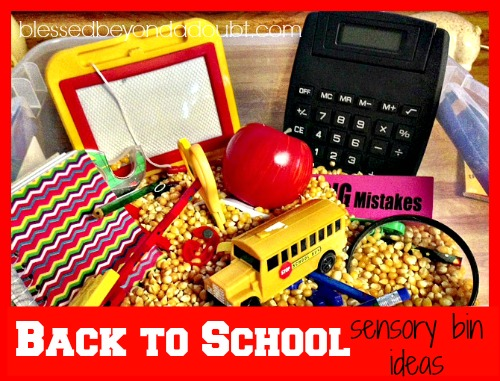 FUN Back to School Sensory Bin and ideas!