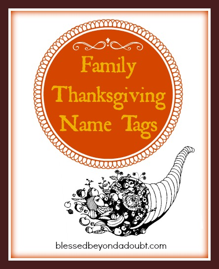 Family Thanksgiving Name Tags