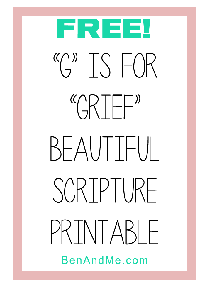g is for grief printable