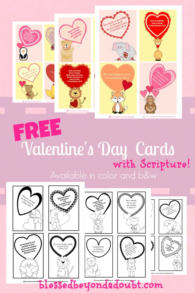 FREE Valentine39s Day Cards with Scripture for Children