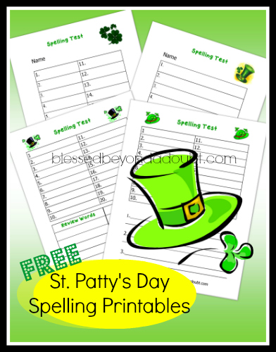 FREE St. Patrick's Day Spelling Test Printables!