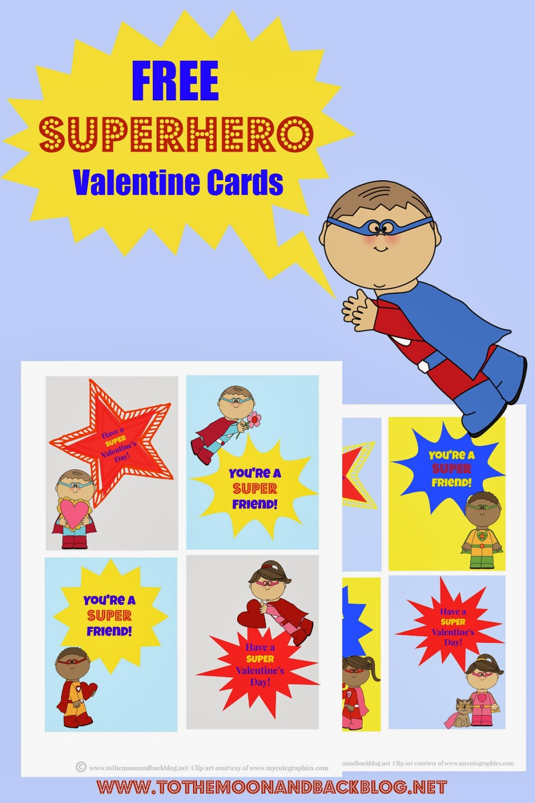 printable superhero valentines   blessed beyond a doubt