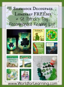Shamrock Decoupage Luminary FREEbie & Saint Patrick's Day Recommended Reading List