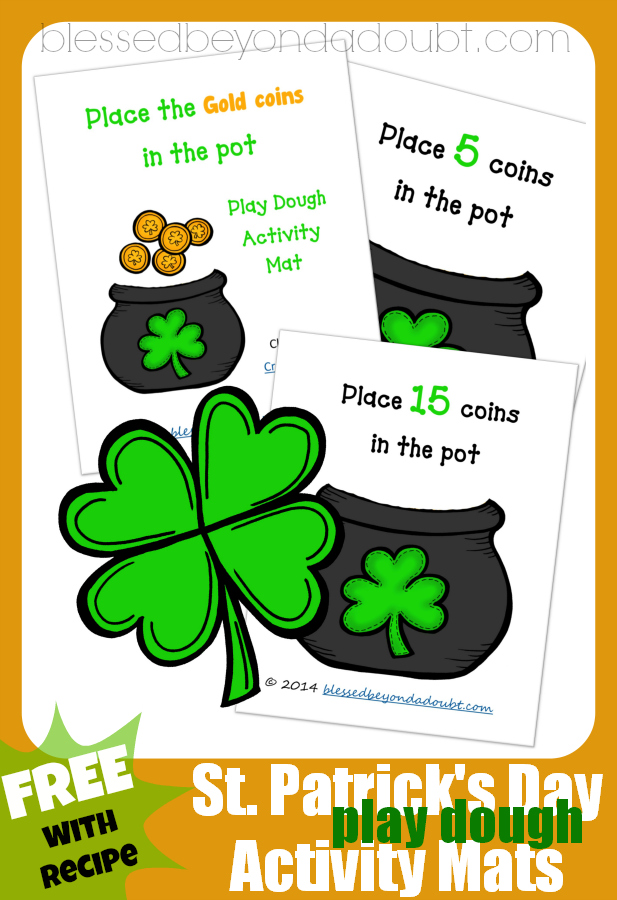 Have FUN with these St. Patrick's Day Activity Play Dough mats. Our favorite play dough recipes is included.
