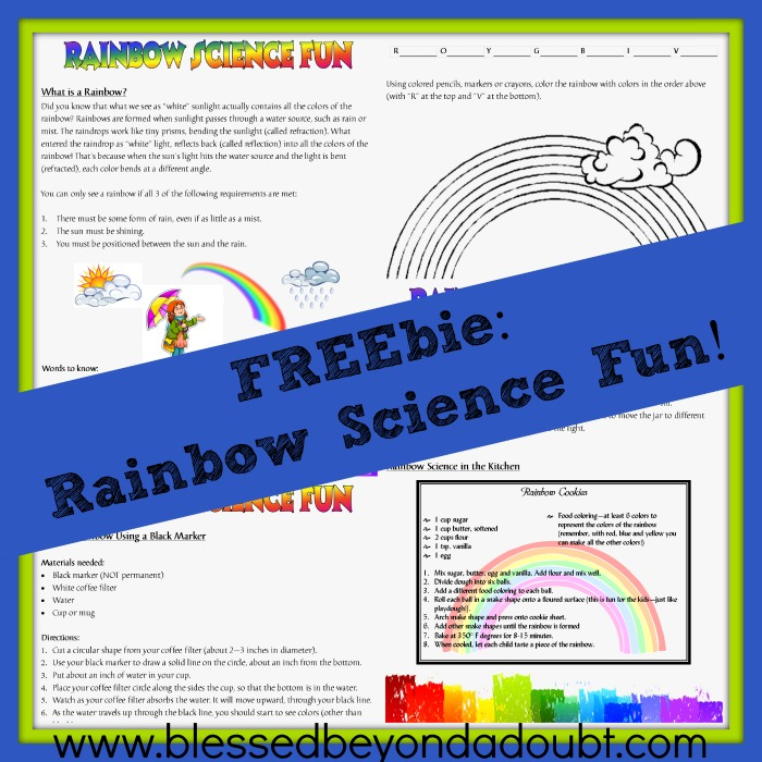 Have FUN with this Rainbow Science Project. FREE Printable