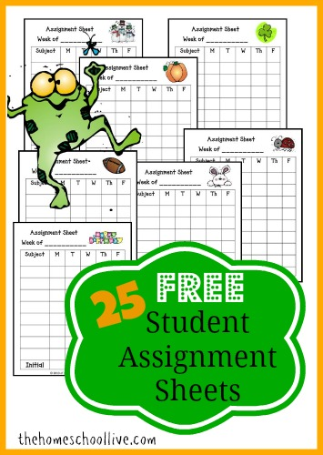 FREE Assignment sheets for every month!