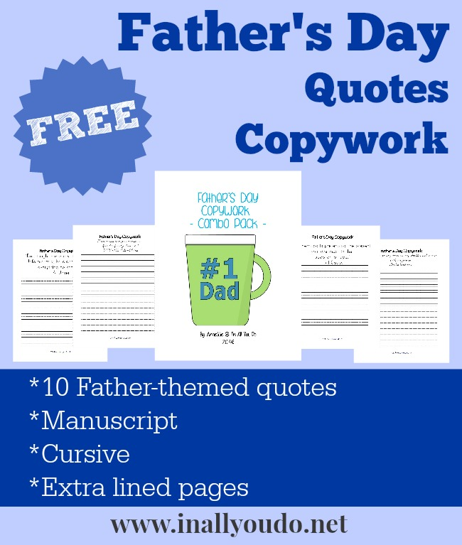 FREE Father's Day Quotes Copywork