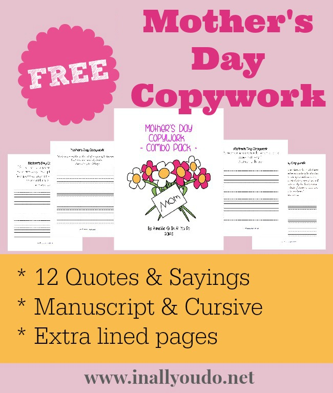 FREE Mother's Day Copywork