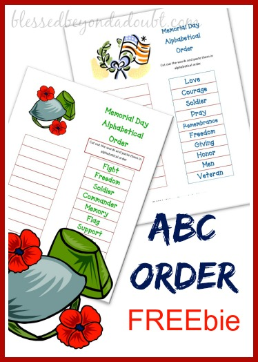 ABC Order Printable - Memorial Day FREEbie