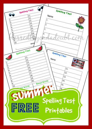 Have FUN with these FREE summer spelling test printables
