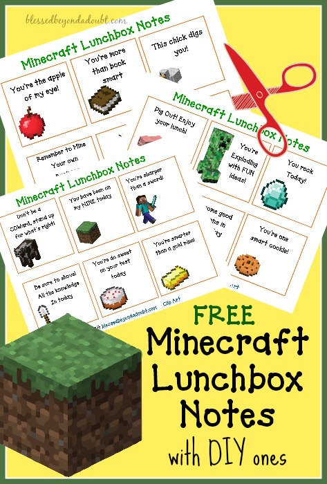 Minecraft Lunchbox Notes by Blessed Beyond a Doubt