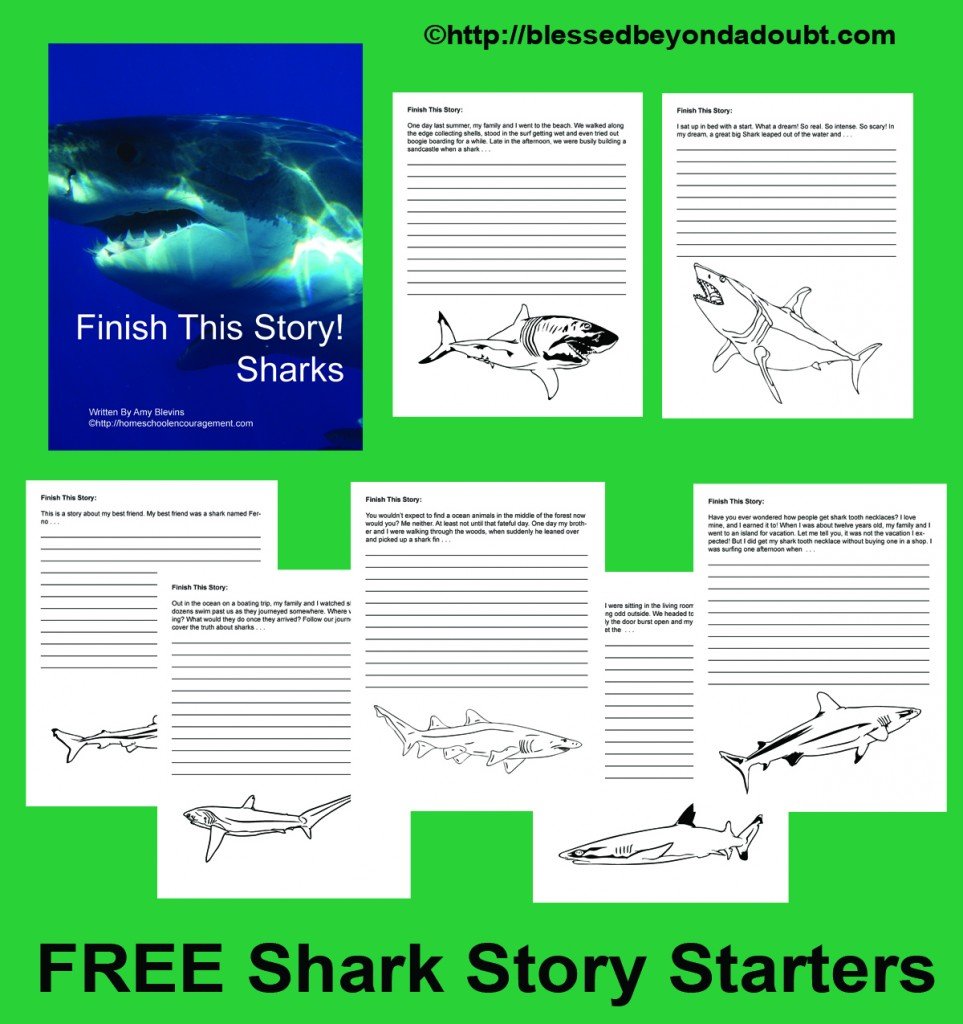 Finish The Story: Sharks is a brand new set of 8 story starters with awesome shark graphics just in time for Shark week. Plus, this article is chock full of amazing (and mostly free!) shark resources to round out your studies. #sharkweek