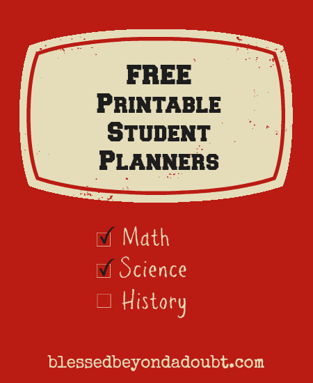 Free Printable Student Planners for Back to School