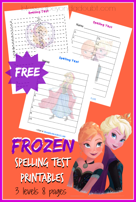 Frozen Spelling Test Printables