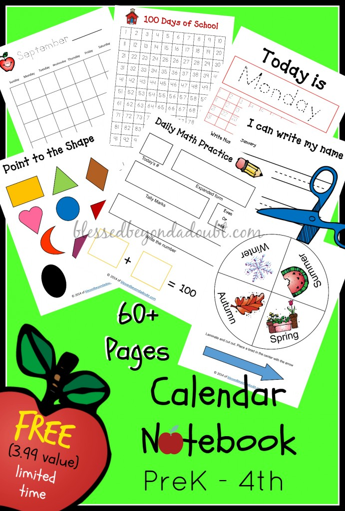 Diy Calendar Homeschool : Free homeschool calendar notebook prek th value