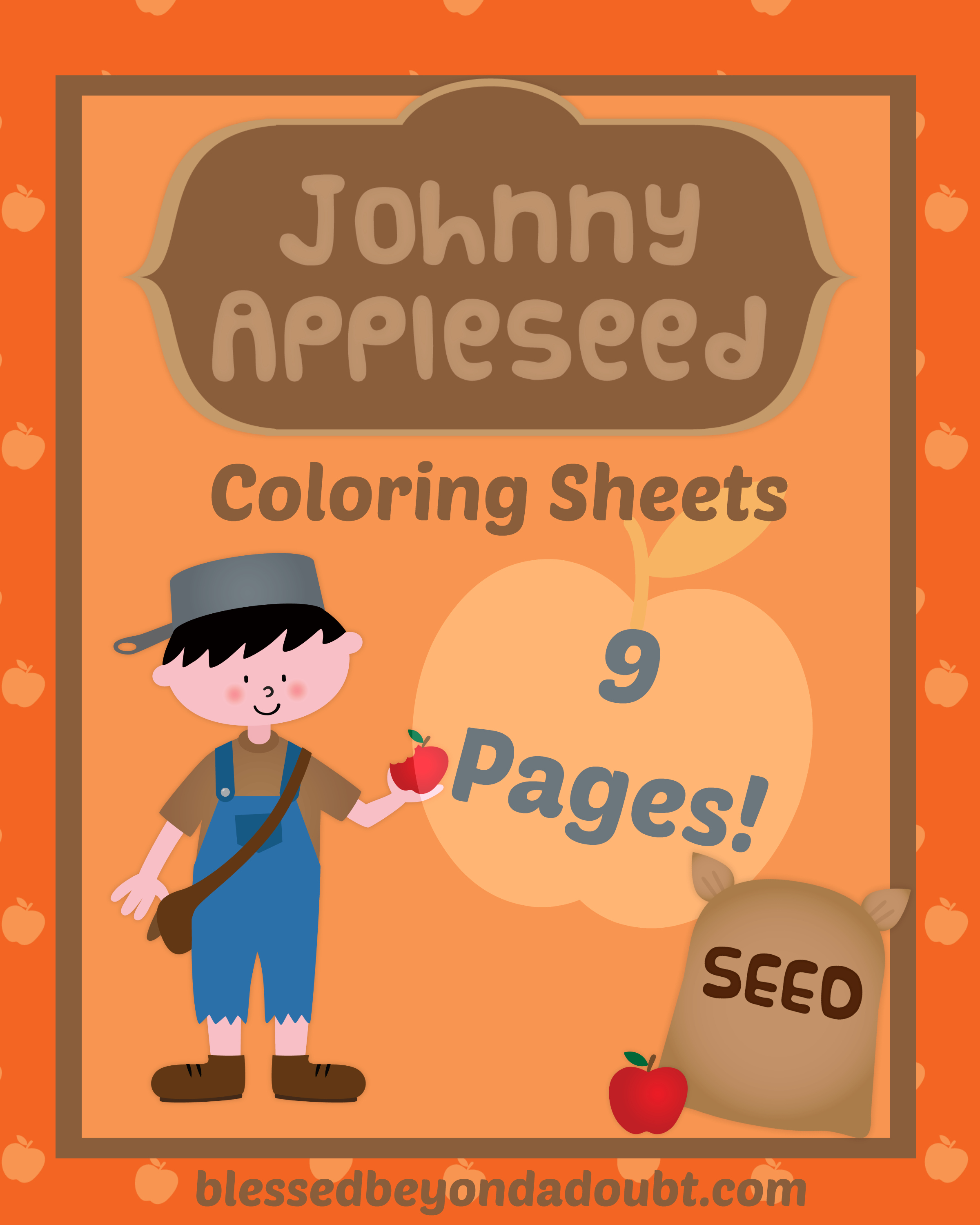 FREE Johnny Appleseed Coloring Pages  Blessed Beyond A Doubt