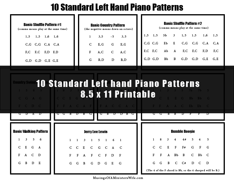 FREE 10 standard lefth and piano patterns printable!