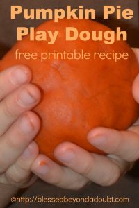 Pumpkin Pie Play Dough Recipe Printable