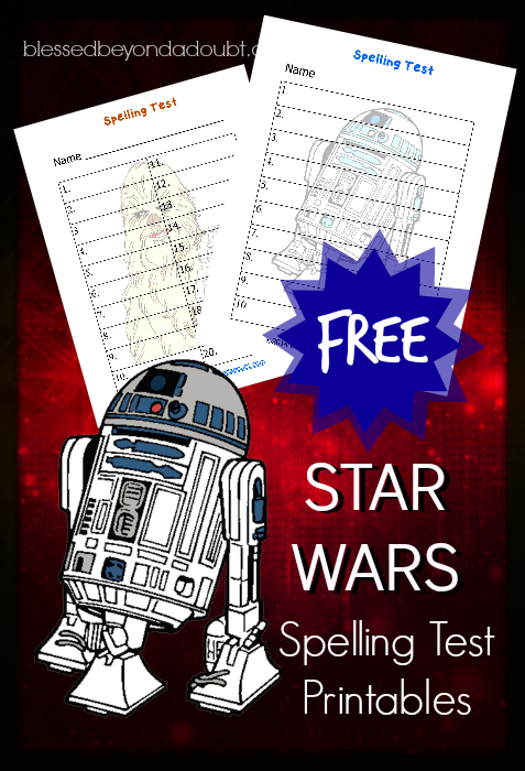 Star Wars spelling test printables