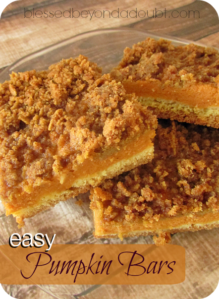 Pumpkin Pie Squares With Yellow Cake Mix