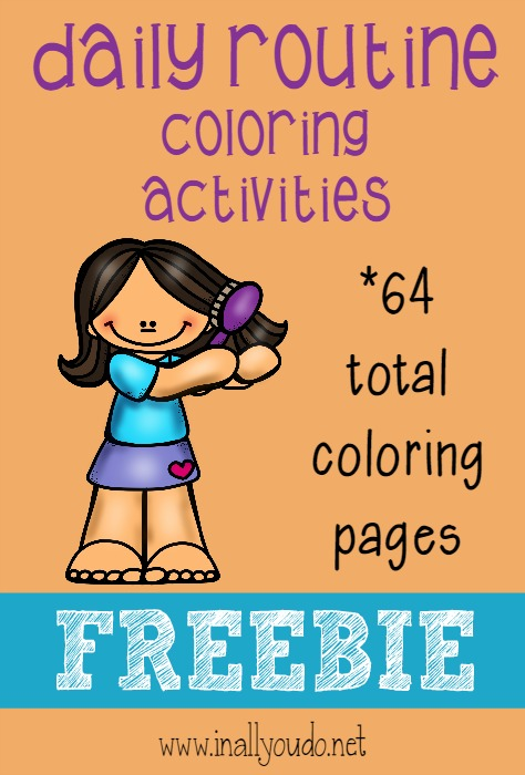 super cute daily routine coloring pages