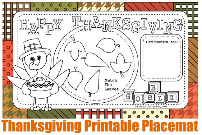 Thanksgiving Printable Placemat Coloring Pages