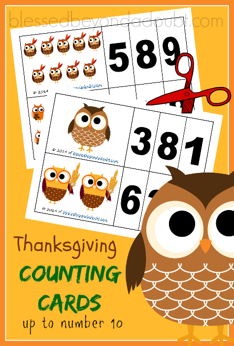 FREE Thanksgiving owls counting cards! My child has really picked up on number recognition with these cards.