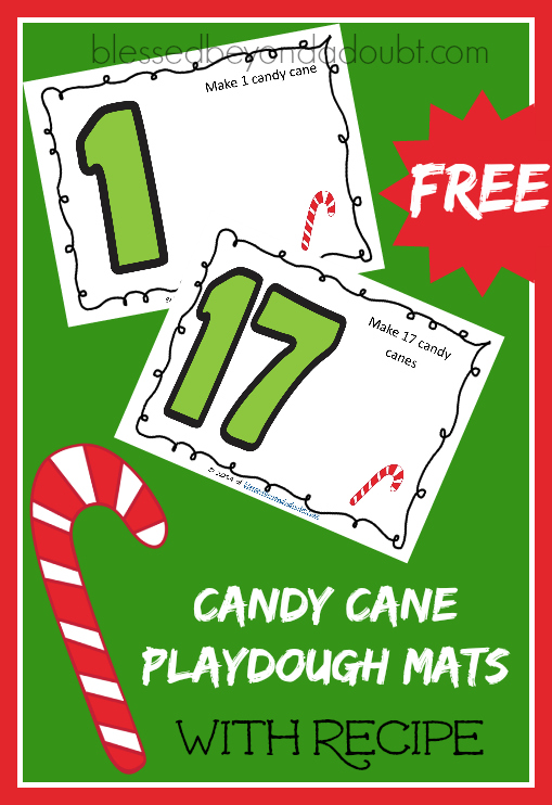 FREE Candy Cane Playdough mats with DIY candy cane playdough mats!