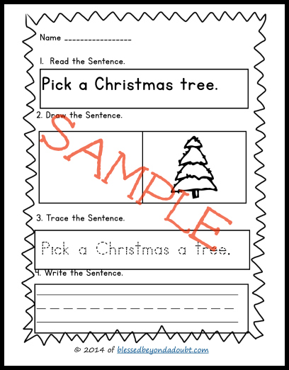 FREE Learn the Sentence Printables- Christmas Edition!