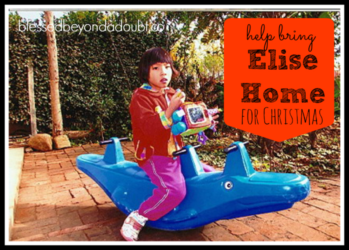 Please help bring Elise to her new home in China this Christmas. Read the sweet story.