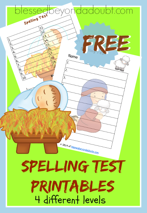 spelling test printables