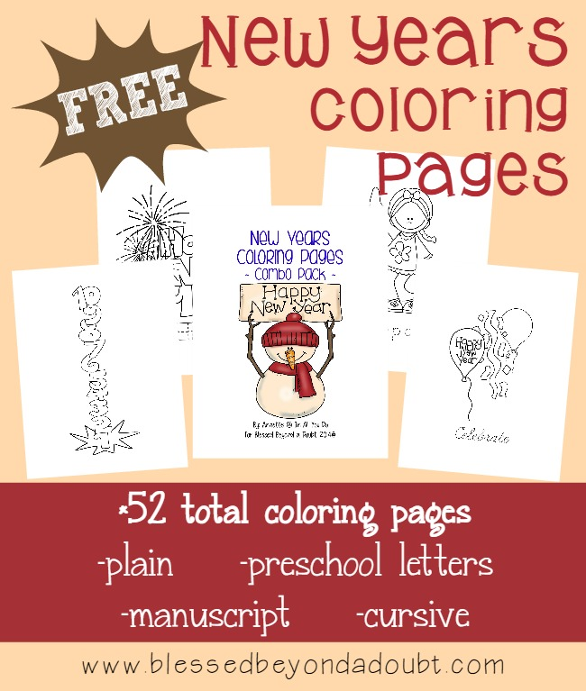 The New Year is quickly approaching! Kids will love celebrating with these fun (and educational) New Years Coloring Pages {52 total pages}!! :: www.blessedbeyondadoubt.com