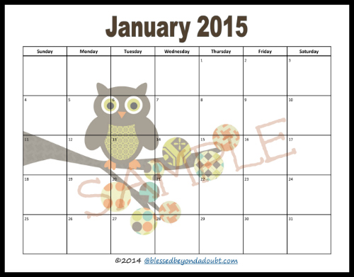 FREE 2015 Monthly Printable CalendarSuper CUTE – Printable Monthly Calendar