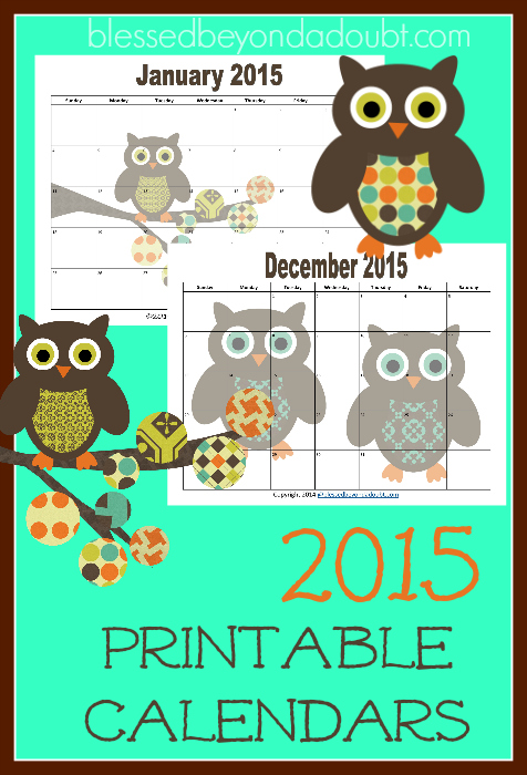 monthly printable calendars 2015